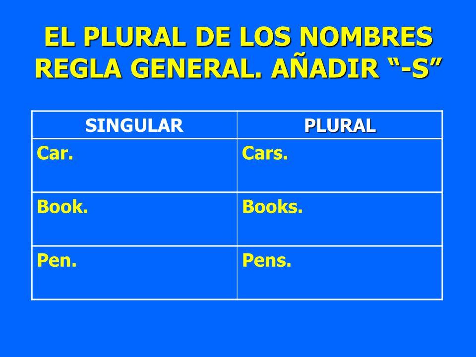 EL PLURAL DE LOS NOMBRES REGLA GENERAL. AÑADIR -S