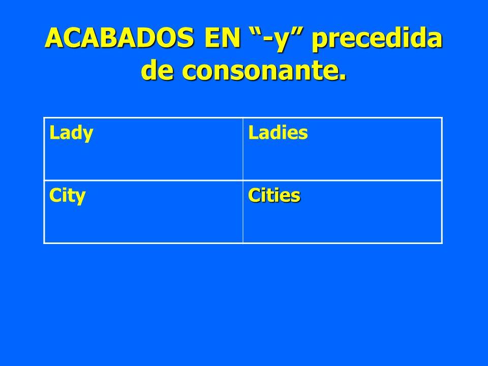 ACABADOS EN -y precedida de consonante.