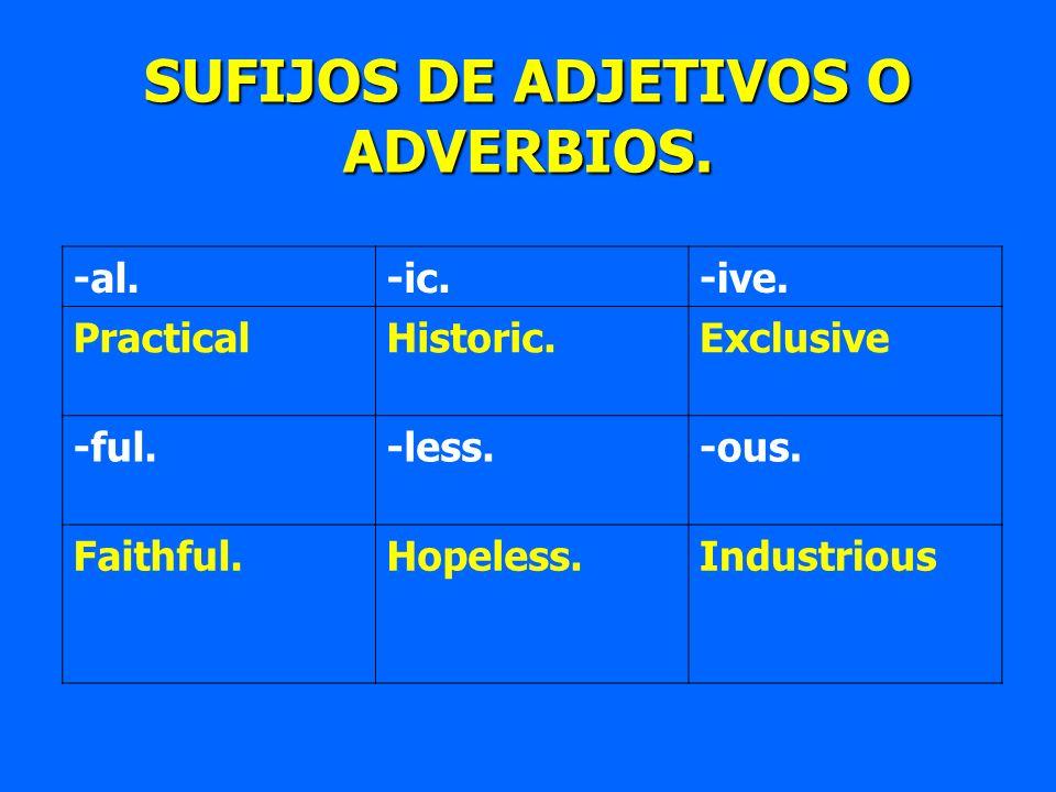 SUFIJOS DE ADJETIVOS O ADVERBIOS.