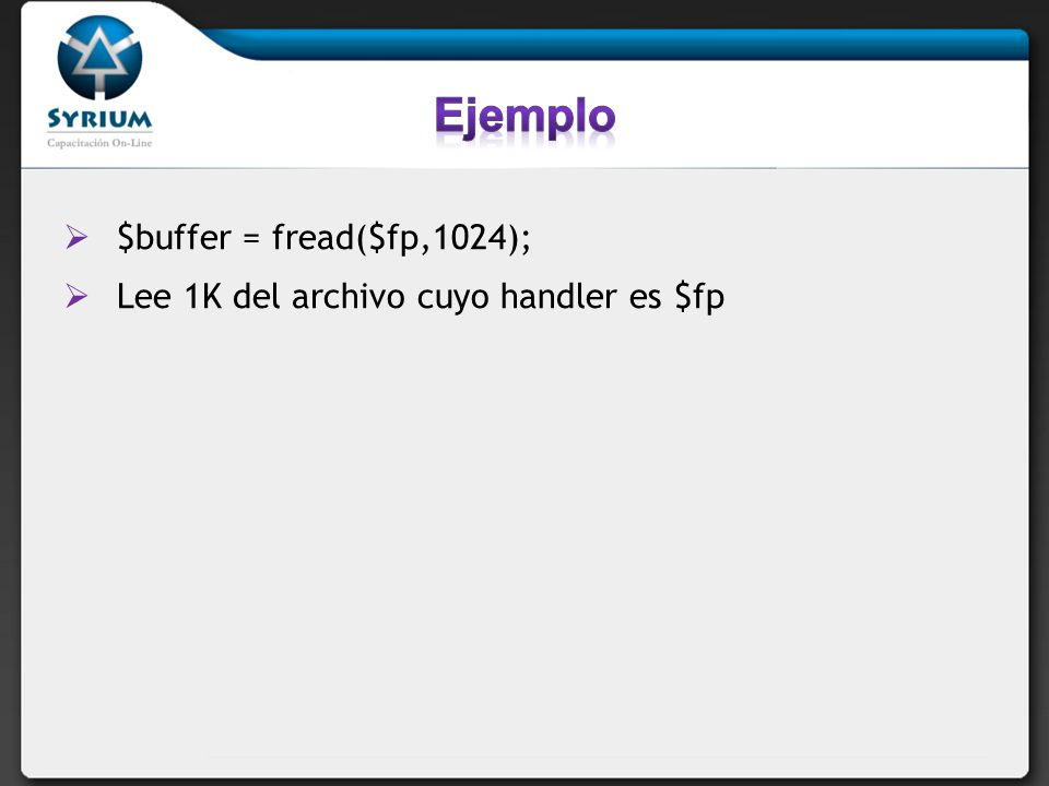 Ejemplo $buffer = fread($fp,1024);
