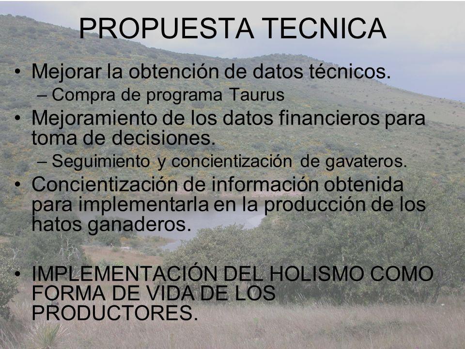 PROPUESTA TECNICA Mejorar la obtención de datos técnicos.