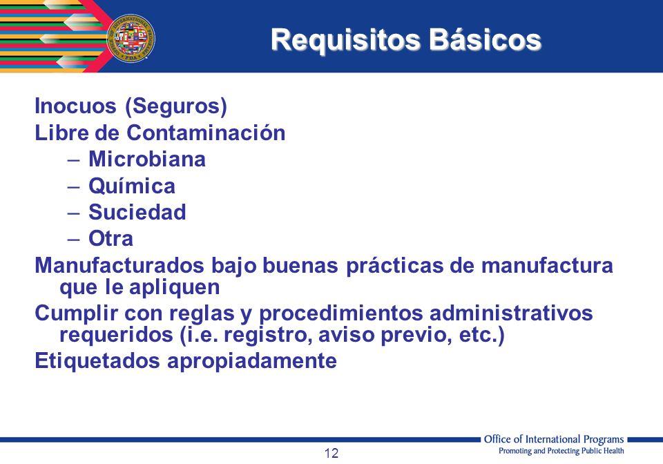Requisitos Básicos Inocuos (Seguros) Libre de Contaminación Microbiana