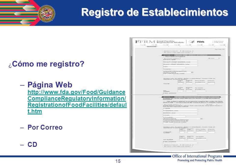 Registro de Establecimientos