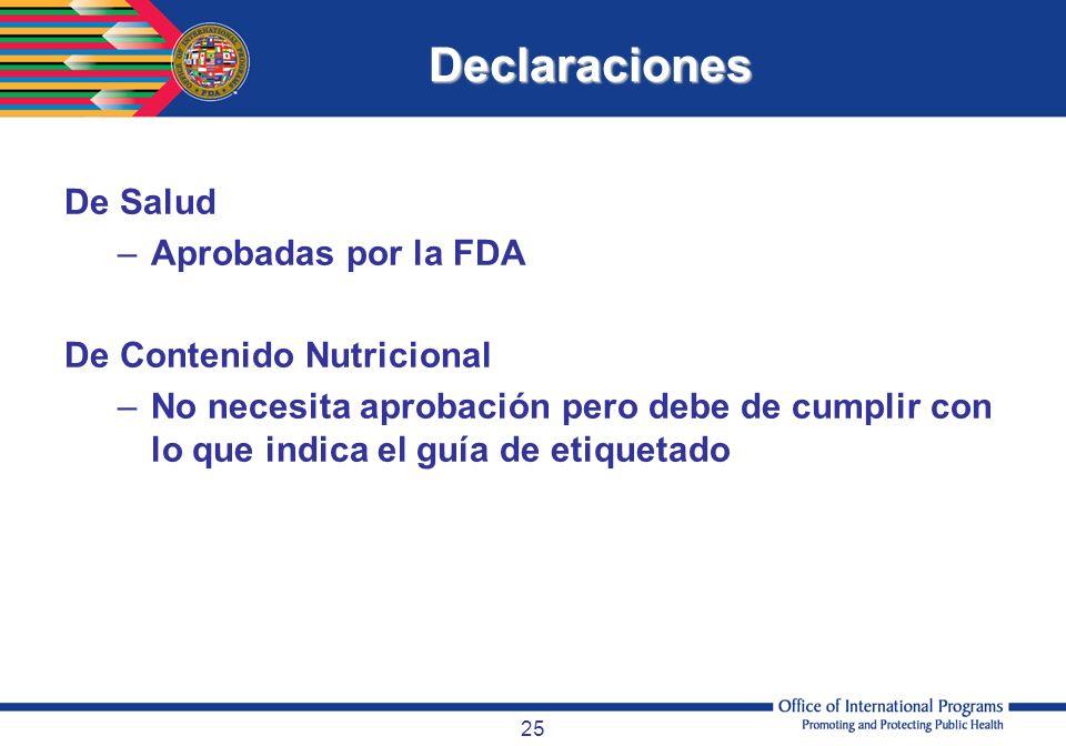 Declaraciones De Salud Aprobadas por la FDA De Contenido Nutricional