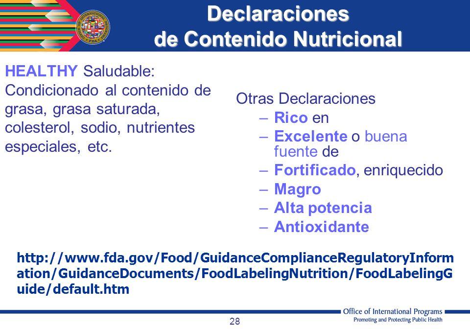 Declaraciones de Contenido Nutricional