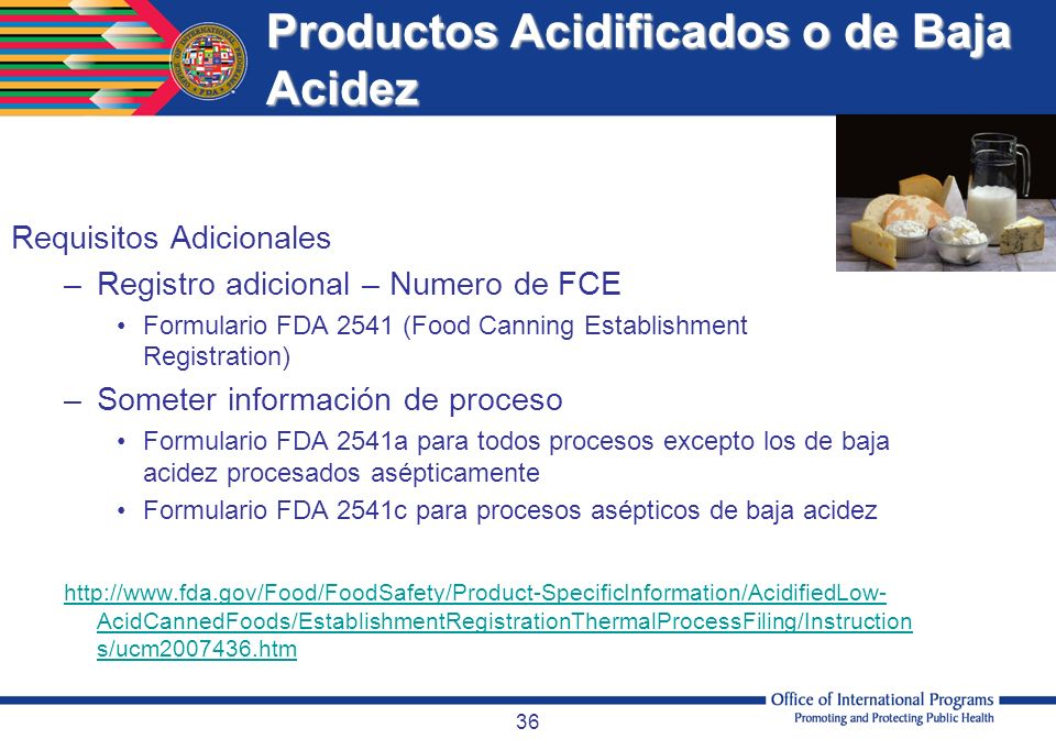 Productos Acidificados o de Baja Acidez