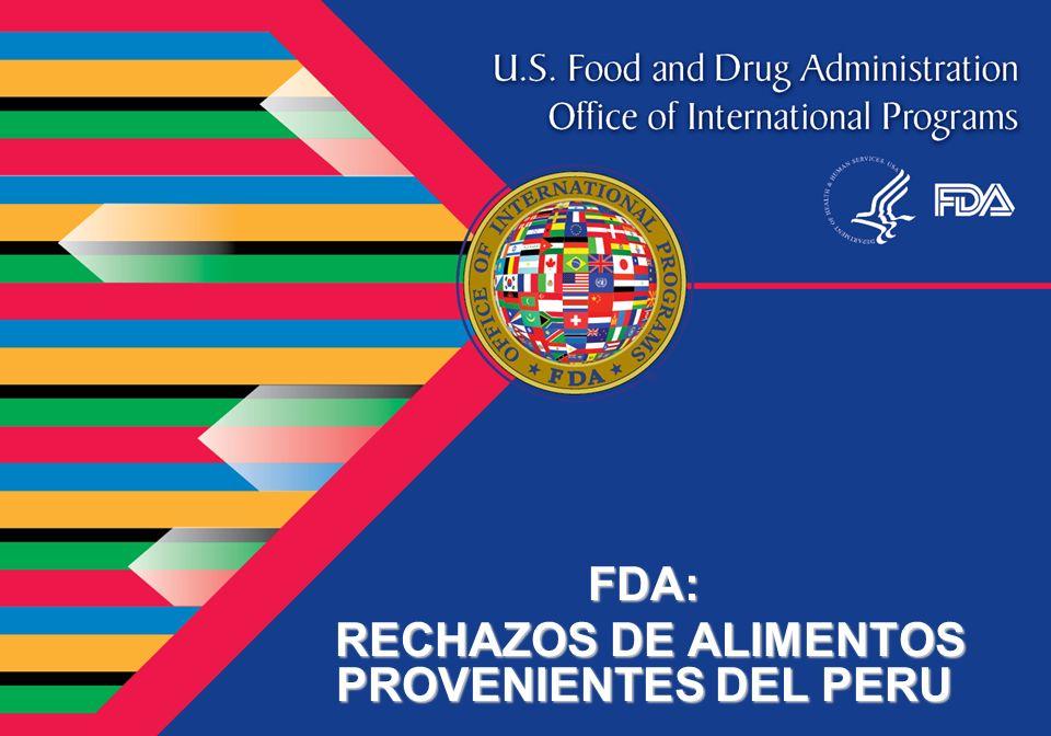 FDA: RECHAZOS DE ALIMENTOS PROVENIENTES DEL PERU