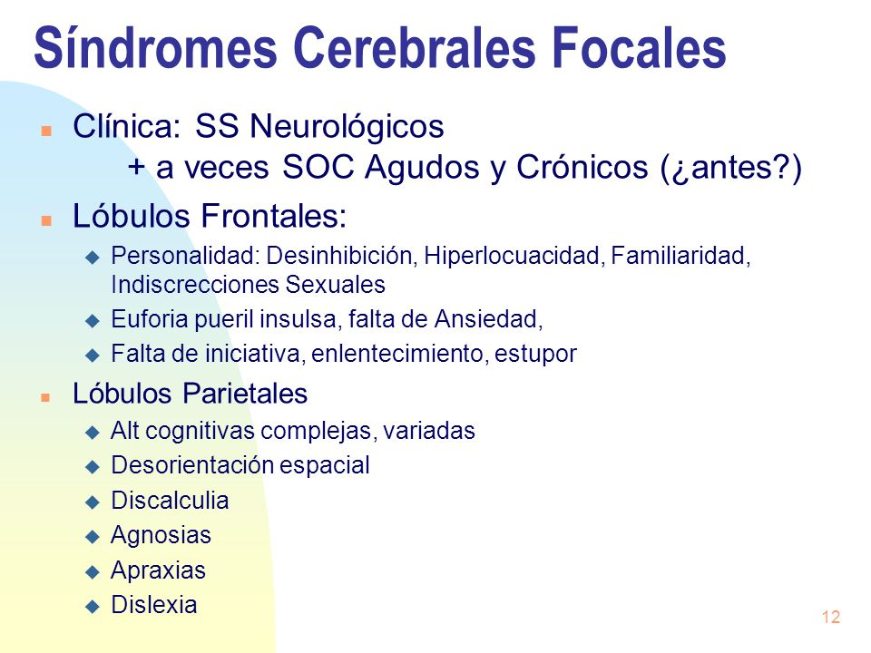 Síndromes Cerebrales Focales