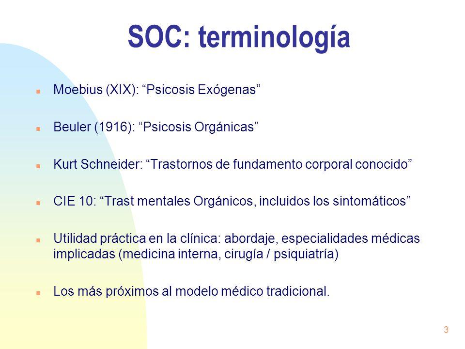 SOC: terminología Moebius (XIX): Psicosis Exógenas