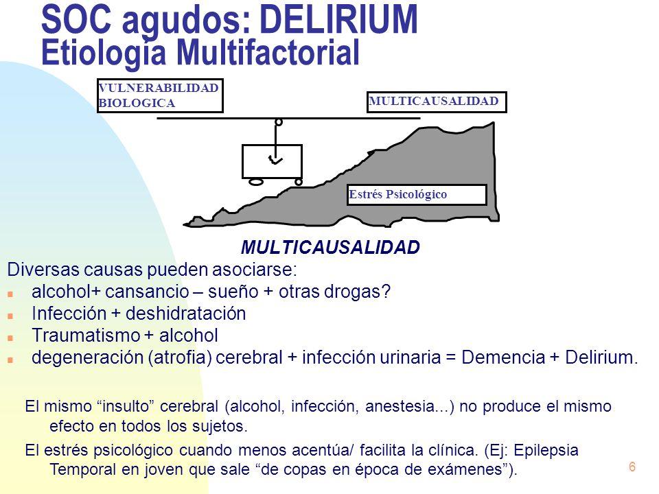 SOC agudos: DELIRIUM Etiología Multifactorial