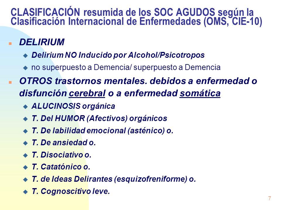 CLASIFICACIÓN resumida de los SOC AGUDOS según la Clasificación Internacional de Enfermedades (OMS, CIE-10)