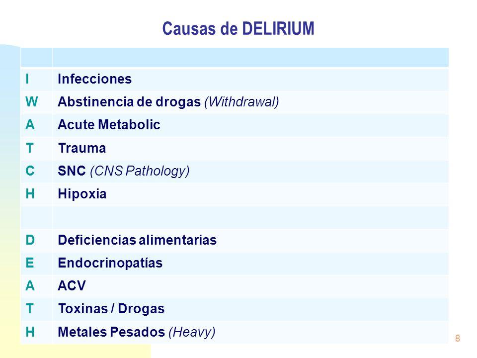 Causas de DELIRIUM I Infecciones W Abstinencia de drogas (Withdrawal)