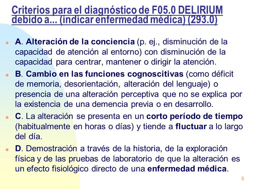Criterios para el diagnóstico de F05. 0 DELIRIUM debido a