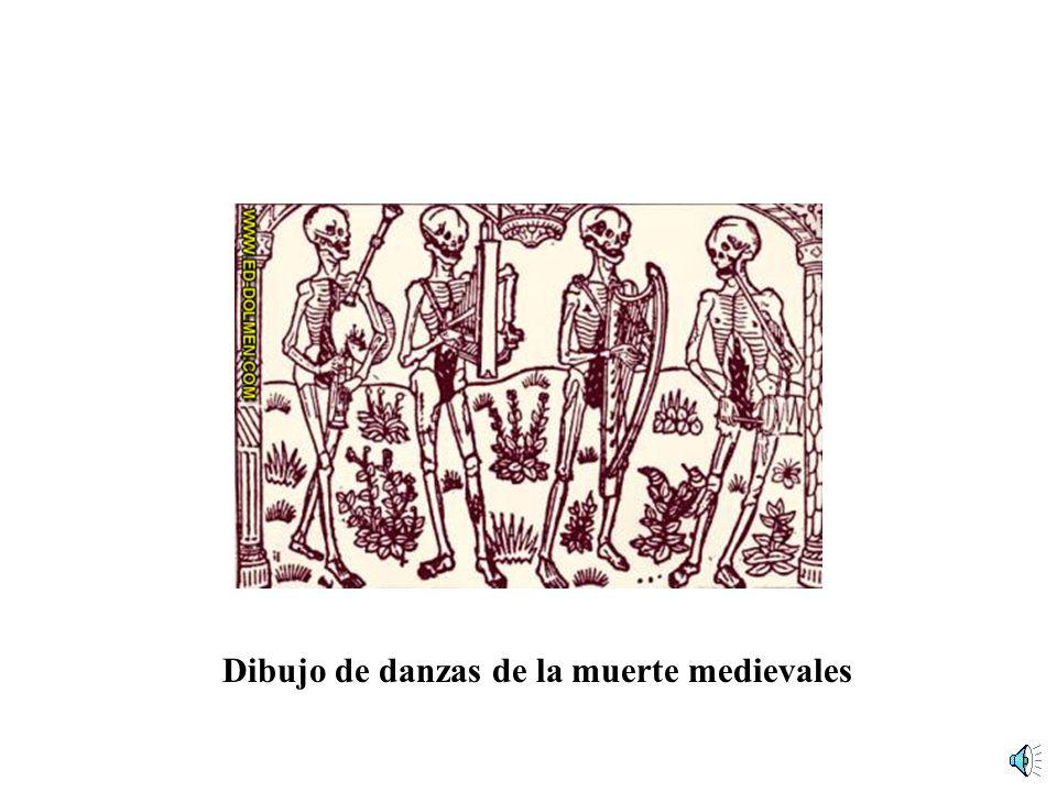 Dibujo de danzas de la muerte medievales