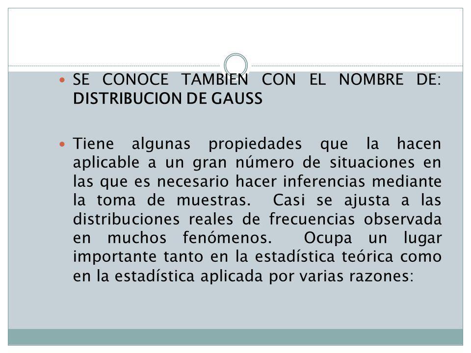 SE CONOCE TAMBIEN CON EL NOMBRE DE: DISTRIBUCION DE GAUSS