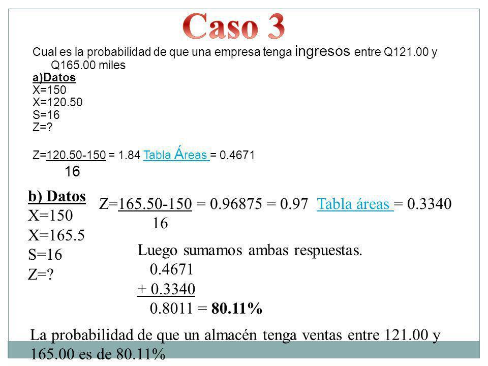 Caso 3 16 b) Datos Z=165.50-150 = 0.96875 = 0.97 Tabla áreas = 0.3340