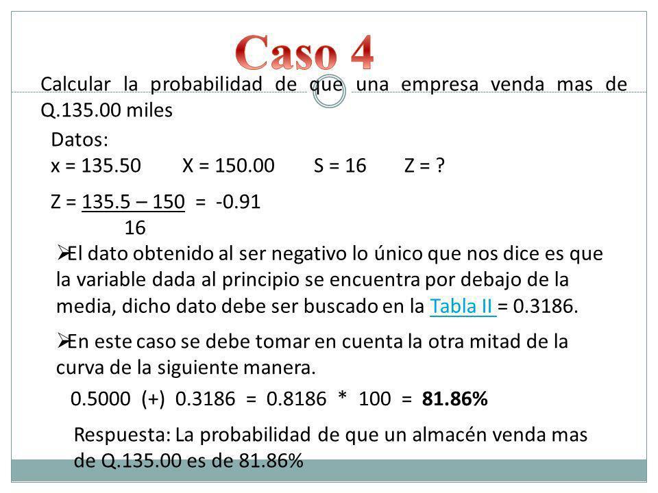 Caso 4 Calcular la probabilidad de que una empresa venda mas de Q.135.00 miles. Datos: x = 135.50 X = 150.00 S = 16 Z =