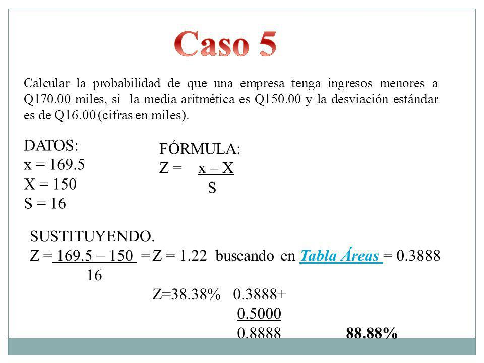 Caso 5 DATOS: FÓRMULA: x = 169.5 Z = x – X X = 150 S S = 16