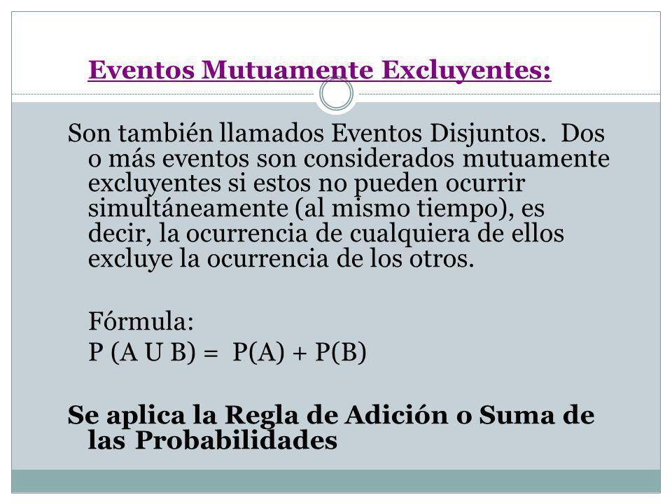 Eventos Mutuamente Excluyentes: Son también llamados Eventos Disjuntos