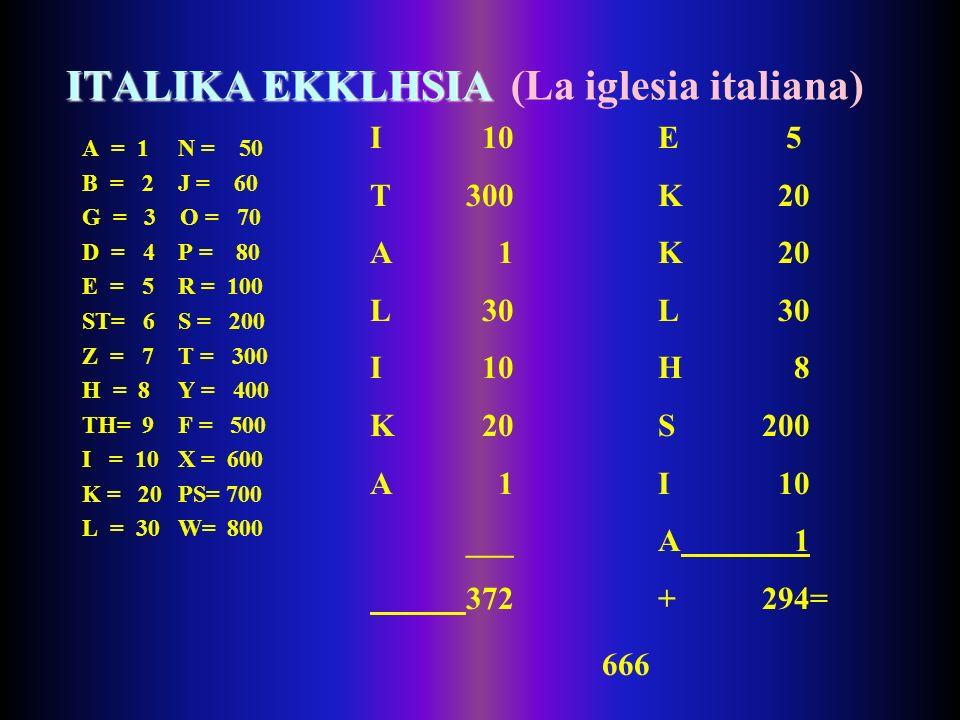 ITALIKA EKKLHSIA (La iglesia italiana)