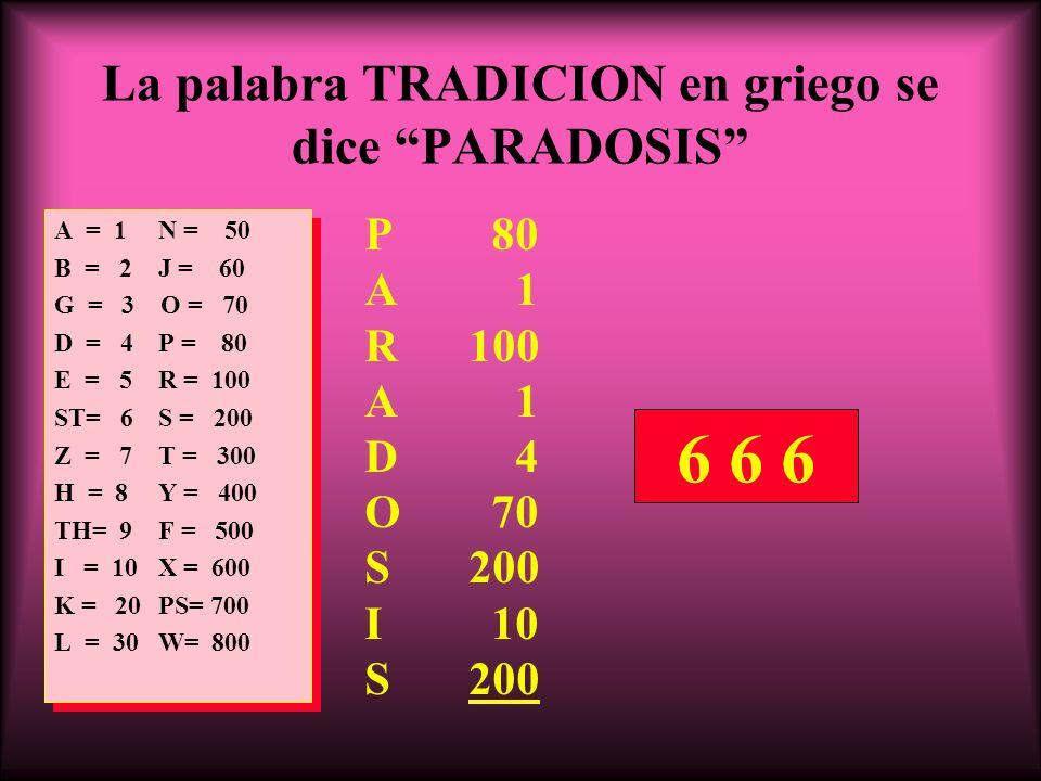 La palabra TRADICION en griego se dice PARADOSIS