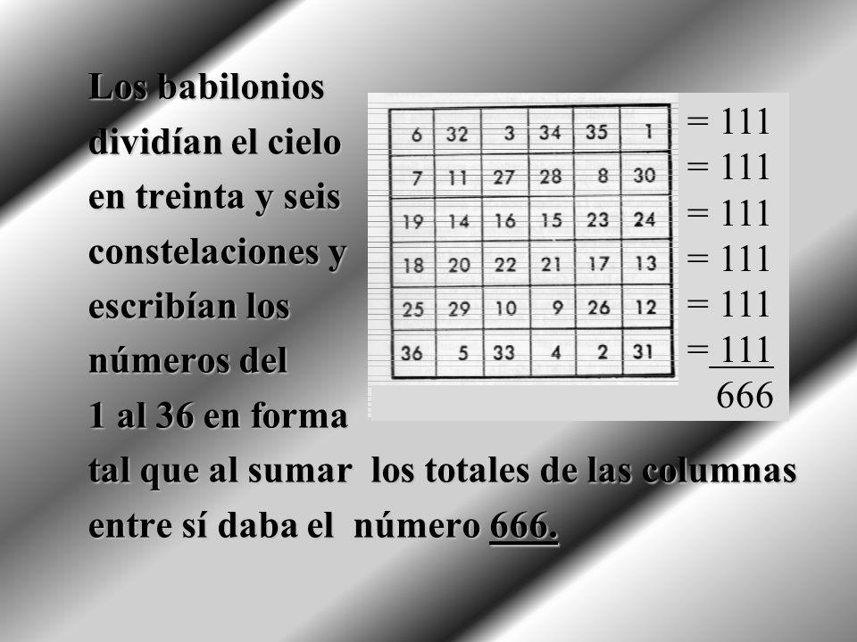 Los babilonios dividían el cielo. en treinta y seis. constelaciones y. escribían los. números del.