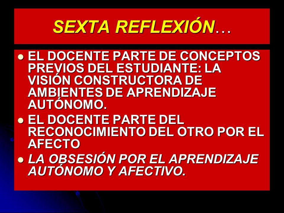 SEXTA REFLEXIÓN… EL DOCENTE PARTE DE CONCEPTOS PREVIOS DEL ESTUDIANTE: LA VISIÓN CONSTRUCTORA DE AMBIENTES DE APRENDIZAJE AUTÓNOMO.