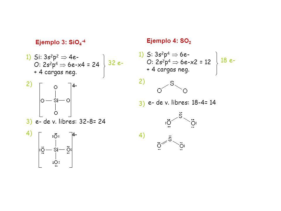 Ejemplo 3: SiO4-4 Si: 3s2p2  4e- O: 2s2p4  6e-x4 = 24