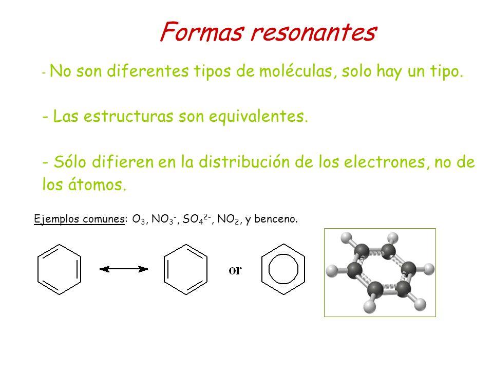 Formas resonantes Las estructuras son equivalentes.