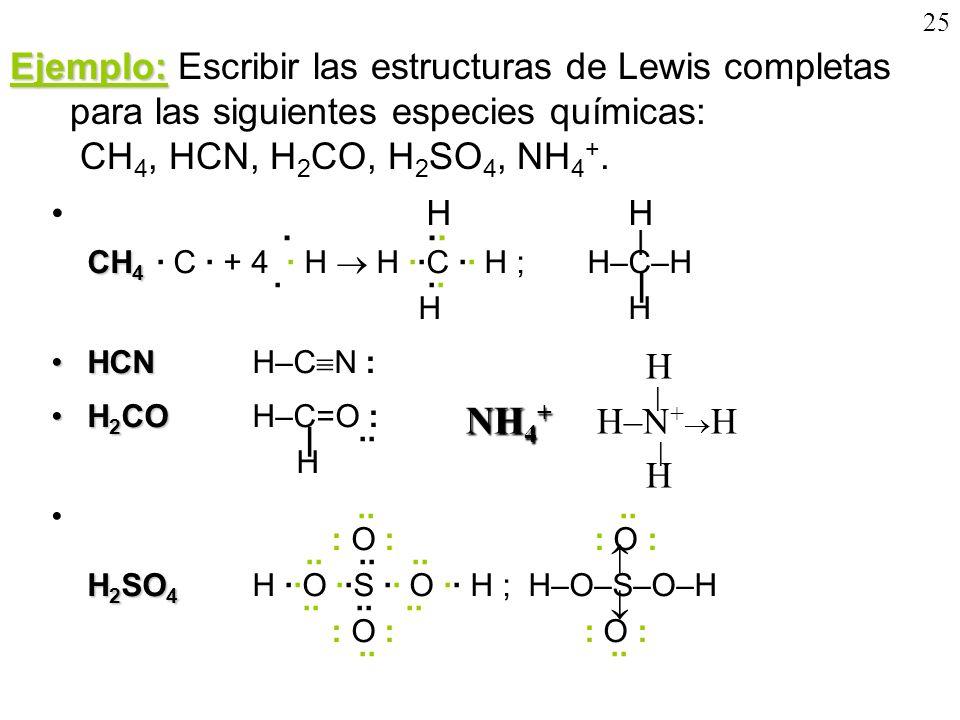 25Ejemplo: Escribir las estructuras de Lewis completas para las siguientes especies químicas: CH4, HCN, H2CO, H2SO4, NH4+.