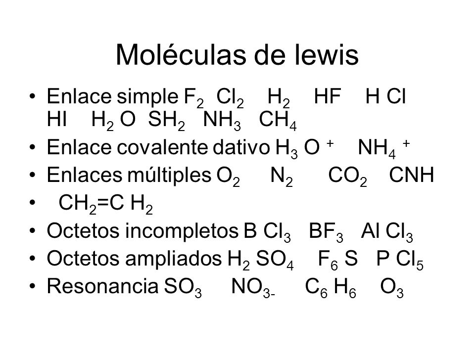 Moléculas de lewis Enlace simple F2 Cl2 H2 HF H Cl HI H2 O SH2 NH3 CH4