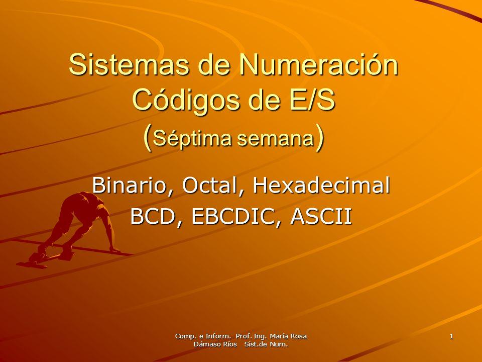 Sistemas de Numeración Códigos de E/S (Séptima semana)