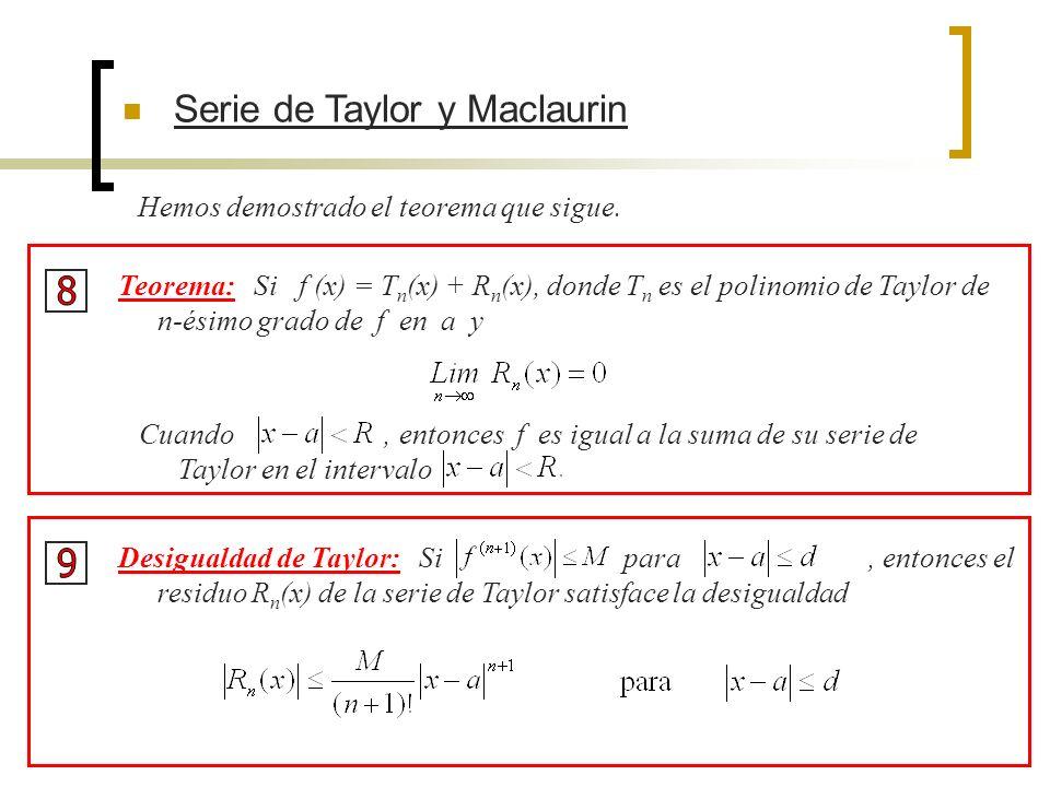 8 9 Serie de Taylor y Maclaurin Hemos demostrado el teorema que sigue.