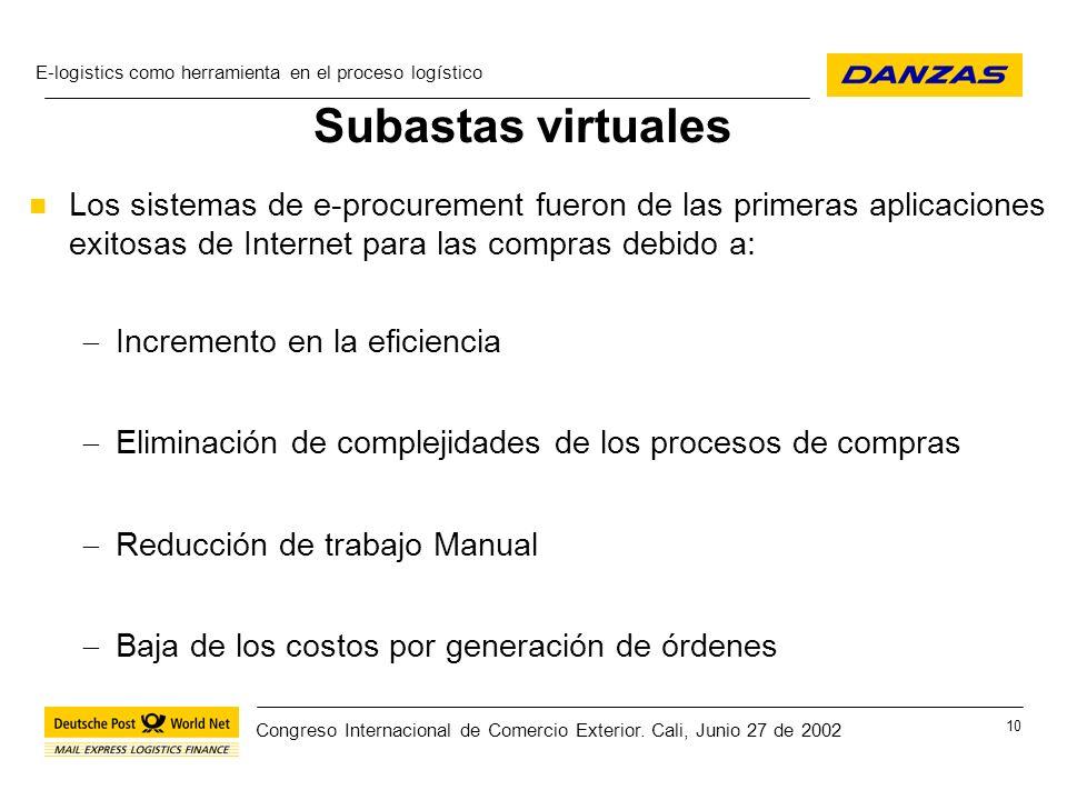 Subastas virtuales Los sistemas de e-procurement fueron de las primeras aplicaciones exitosas de Internet para las compras debido a: