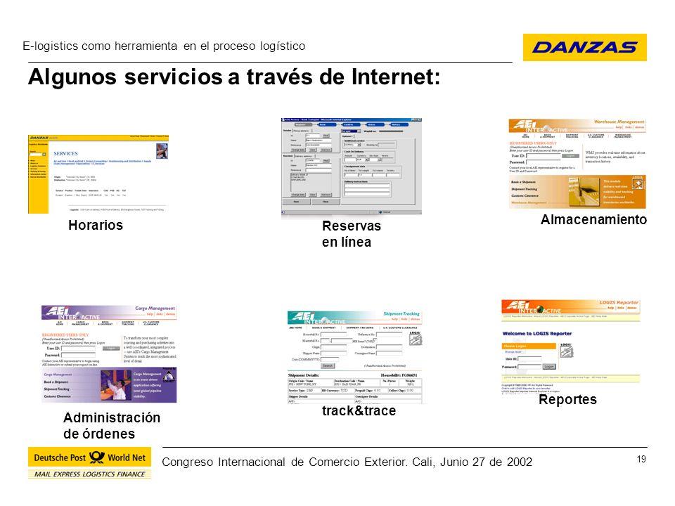 Algunos servicios a través de Internet: