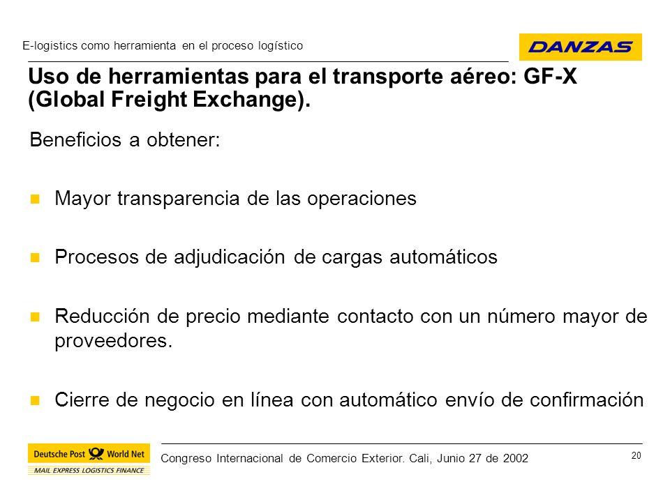 Uso de herramientas para el transporte aéreo: GF-X (Global Freight Exchange).