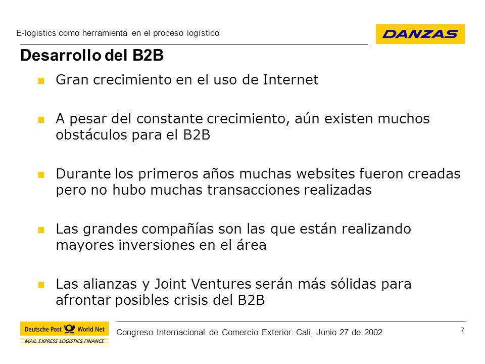 Desarrollo del B2B Gran crecimiento en el uso de Internet