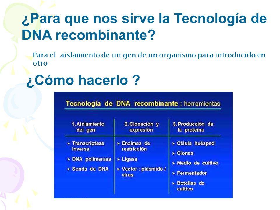 ¿Para que nos sirve la Tecnología de DNA recombinante