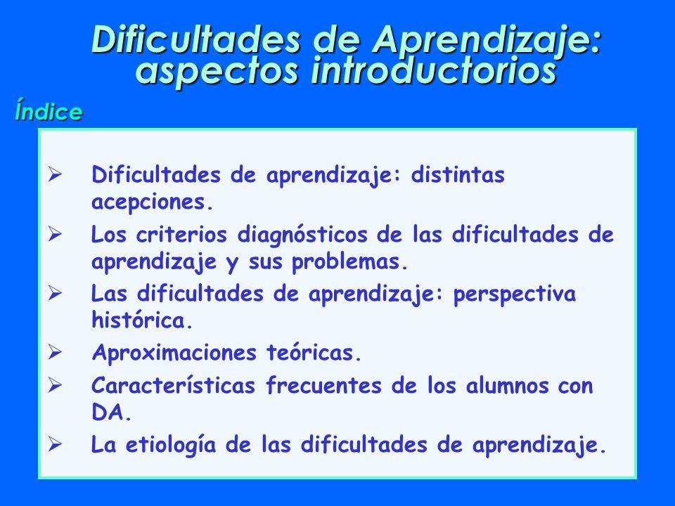 Dificultades de Aprendizaje: aspectos introductorios