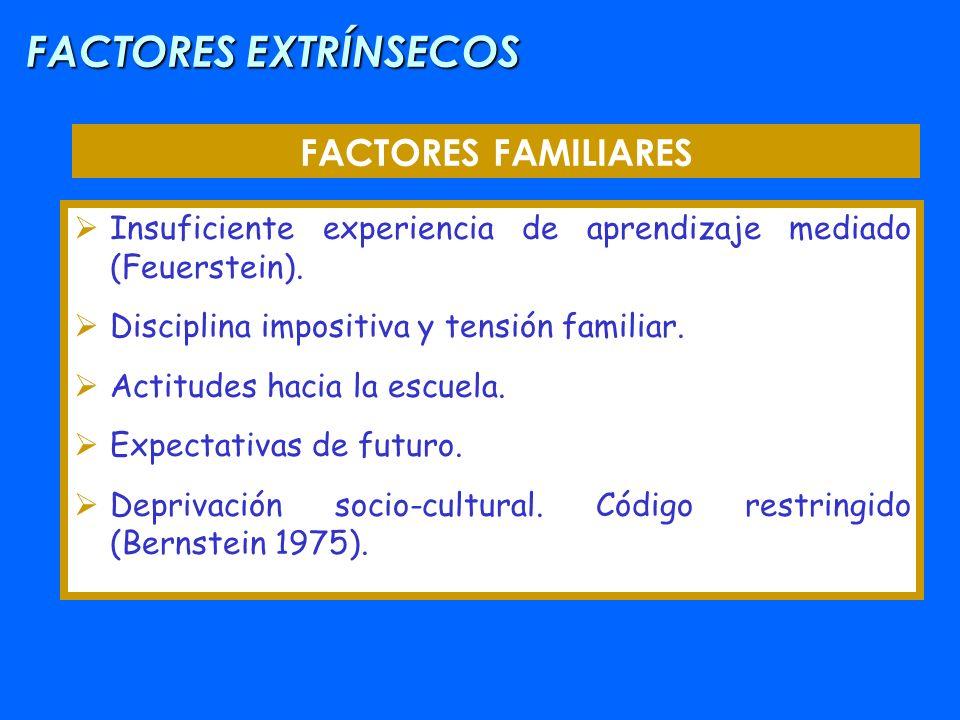 FACTORES EXTRÍNSECOS FACTORES FAMILIARES