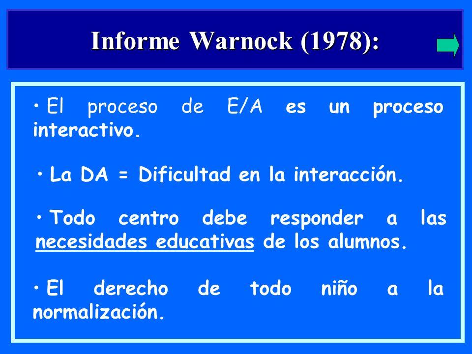 Informe Warnock (1978): El proceso de E/A es un proceso interactivo.