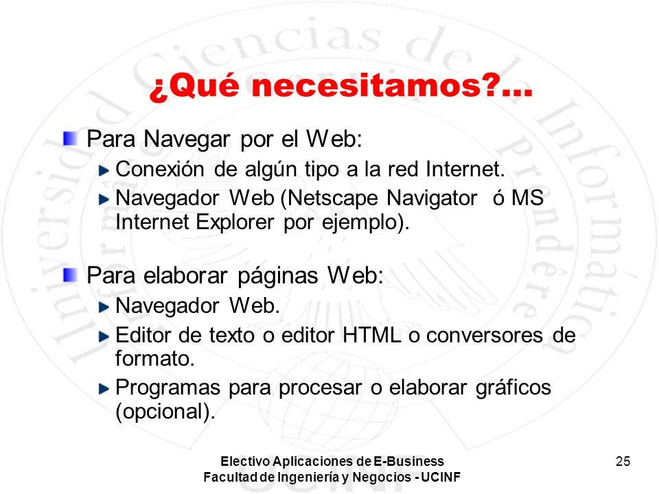 ¿Qué necesitamos ... Para Navegar por el Web: