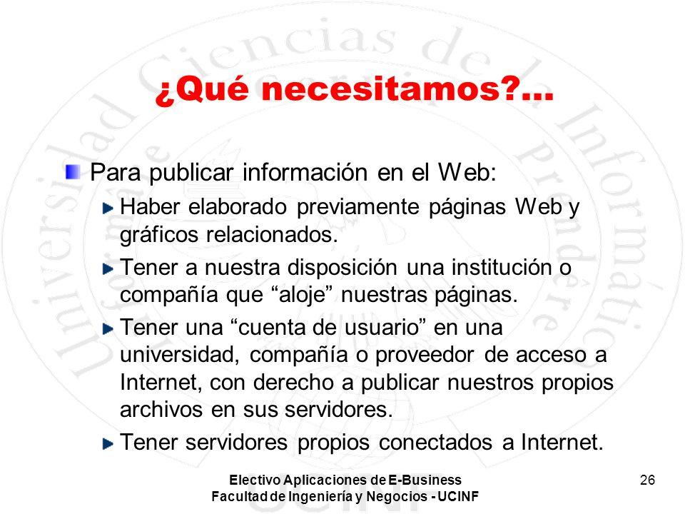 ¿Qué necesitamos ... Para publicar información en el Web: