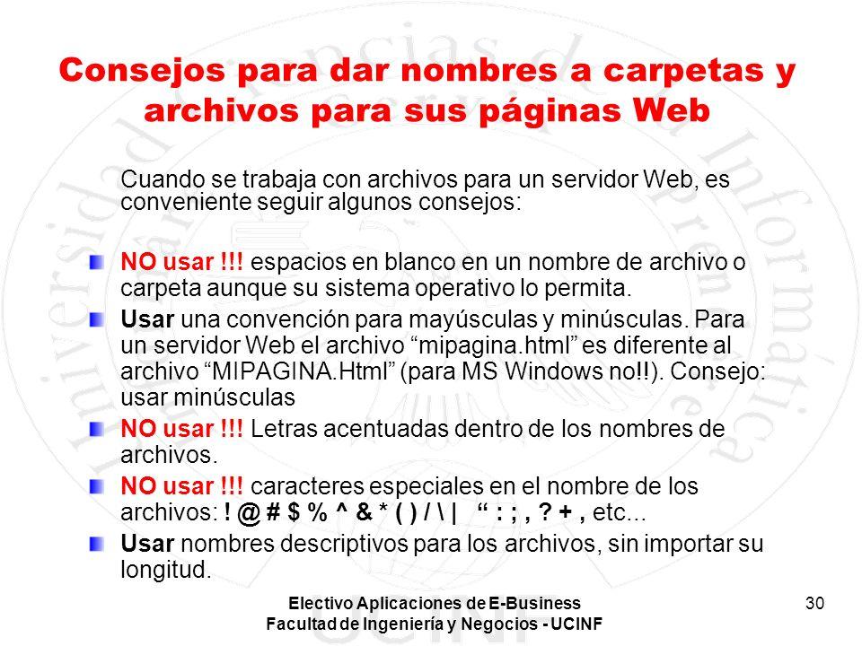 Consejos para dar nombres a carpetas y archivos para sus páginas Web