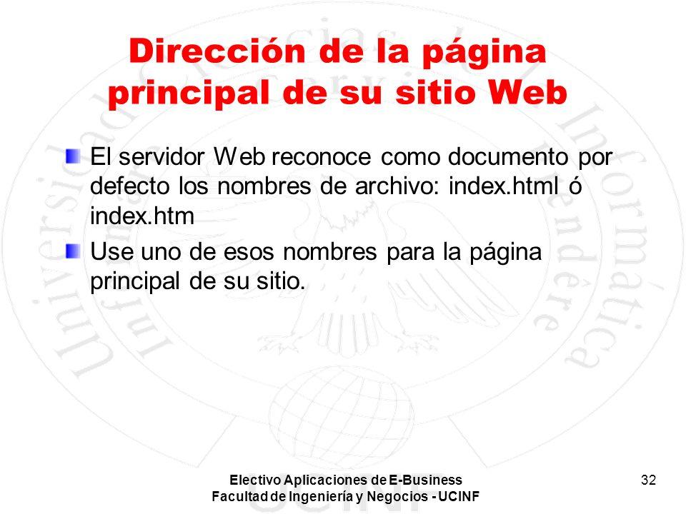 Dirección de la página principal de su sitio Web