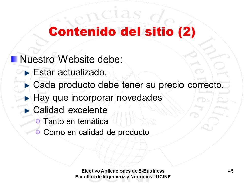 Contenido del sitio (2) Nuestro Website debe: Estar actualizado.