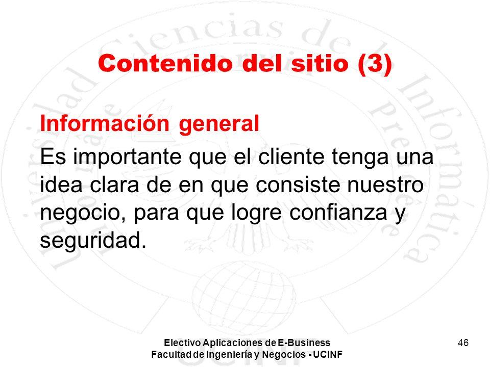 Contenido del sitio (3) Información general