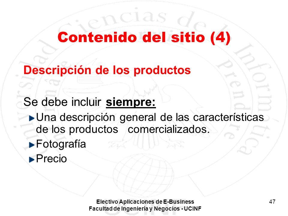 Contenido del sitio (4) Descripción de los productos
