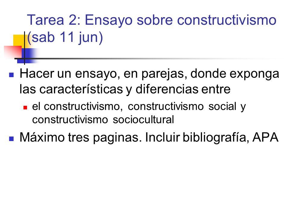 Tarea 2: Ensayo sobre constructivismo (sab 11 jun)