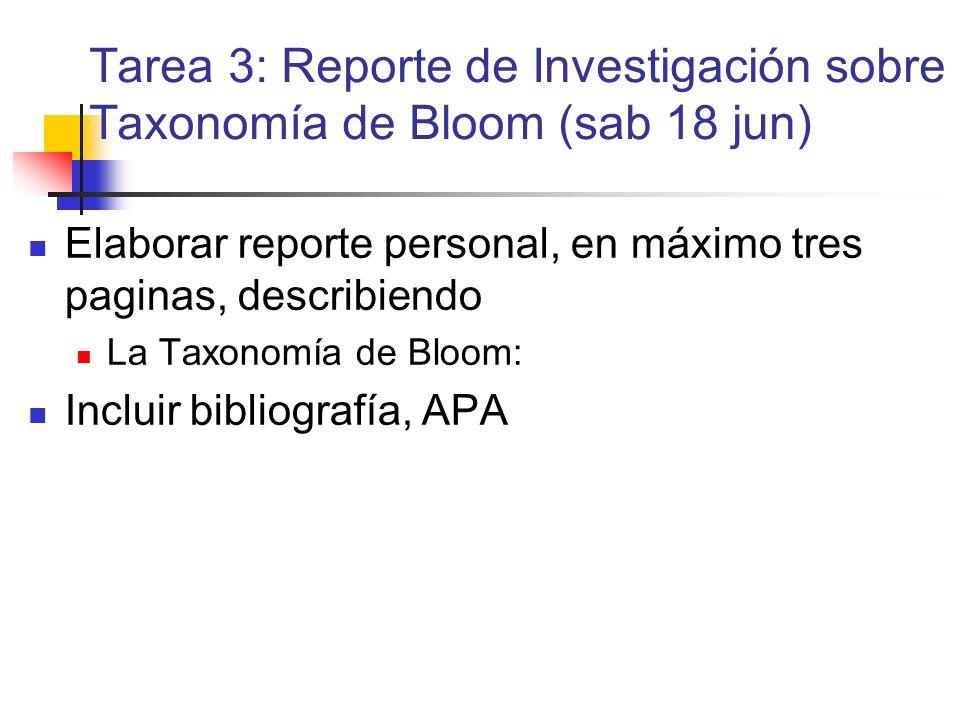 Tarea 3: Reporte de Investigación sobre Taxonomía de Bloom (sab 18 jun)